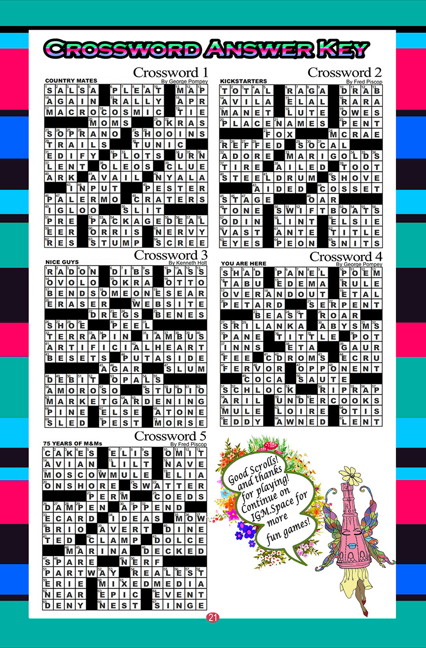 Crossword Puzzle 1 answer key